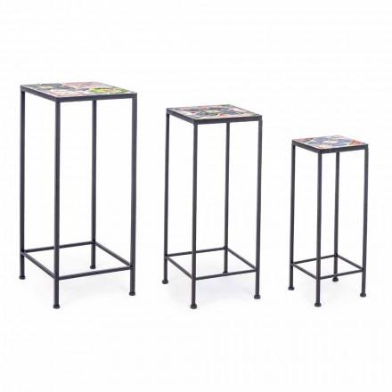 3 čtvercové zahradní designové stoly z oceli s dekoracemi - okouzlující