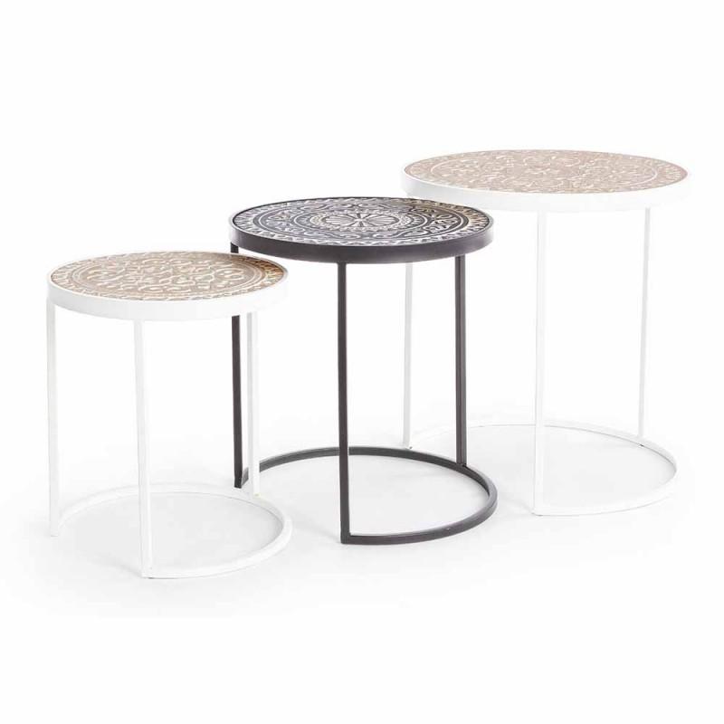3 konferenční stolky v MDF s vykládanými dekoracemi Homemotion - Mariam