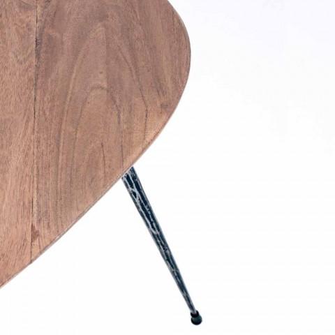 3 moderní konferenční stolky s povrchovou úpravou Homemotion Mango Wood - Kalidi