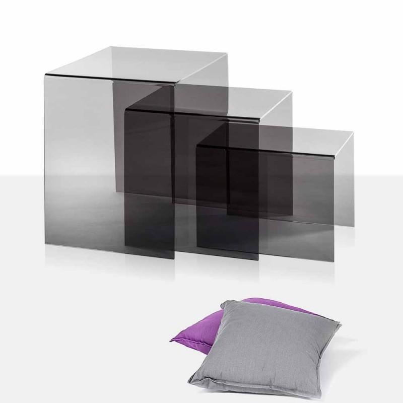 3 hnízdění konferenční stolky uzený Amalia, moderní design, vyrobeno v Itálii