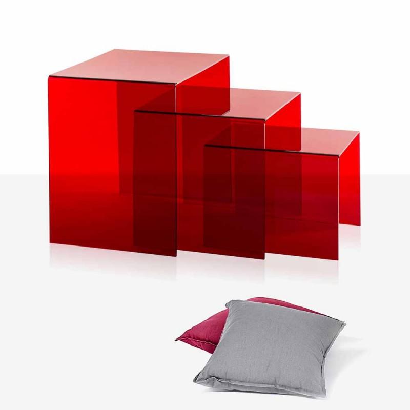 3 červené stohovatelné stoly Amalia, moderní design, vyrobené v Itálii