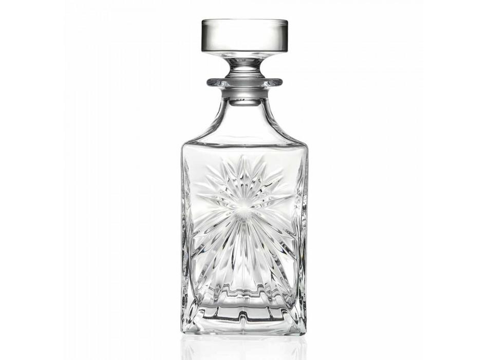 4 lahve na whisky se čtvercovým designem Eco Crystal Cap - Daniele