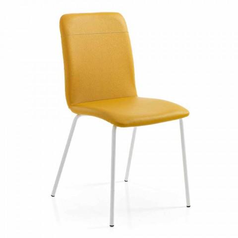 4 židle do kuchyně nebo do obývacího pokoje v barevném provedení Ecoleather a Metal - Hermiona