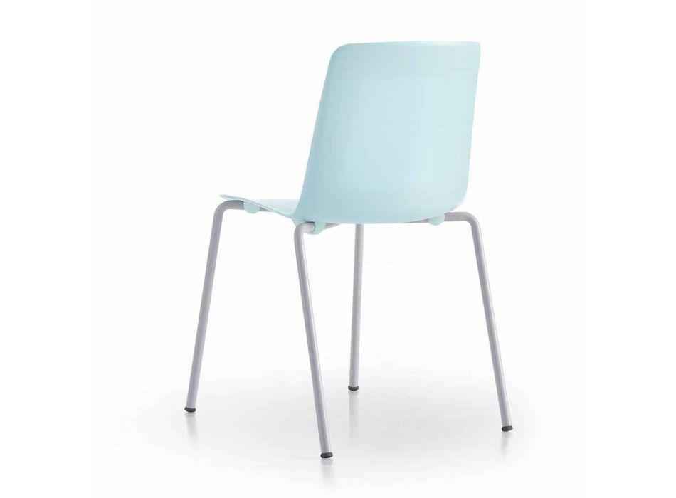 4 stohovatelné venkovní židle z kovu a polypropylenu Vyrobeno v Itálii - Carita
