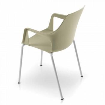 4 stohovatelné venkovní židle z polypropylenu a kovu vyrobené v Itálii - Carlene