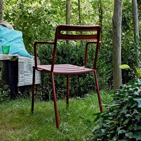 4 venkovní stohovatelné kovové židle vyrobené v Itálii - Yolonda