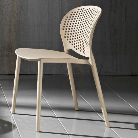 4 barevná stohovatelná židle z polypropylenu s moderním designem - Pocahontas