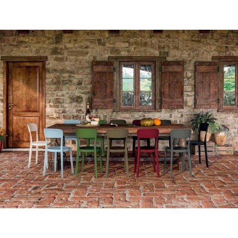 4 venkovní stohovatelné polypropylenové židle vyrobené v Itálii Design - Alexus