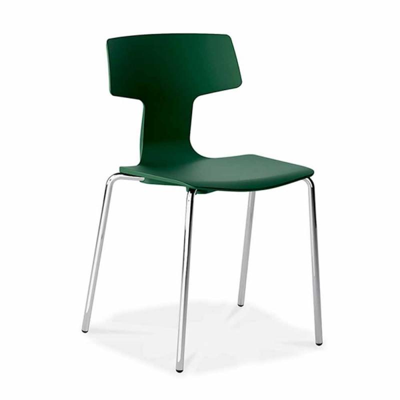 4 stohovatelná židle z kovu a polypropylenu Vyrobeno v Itálii - Clarinda
