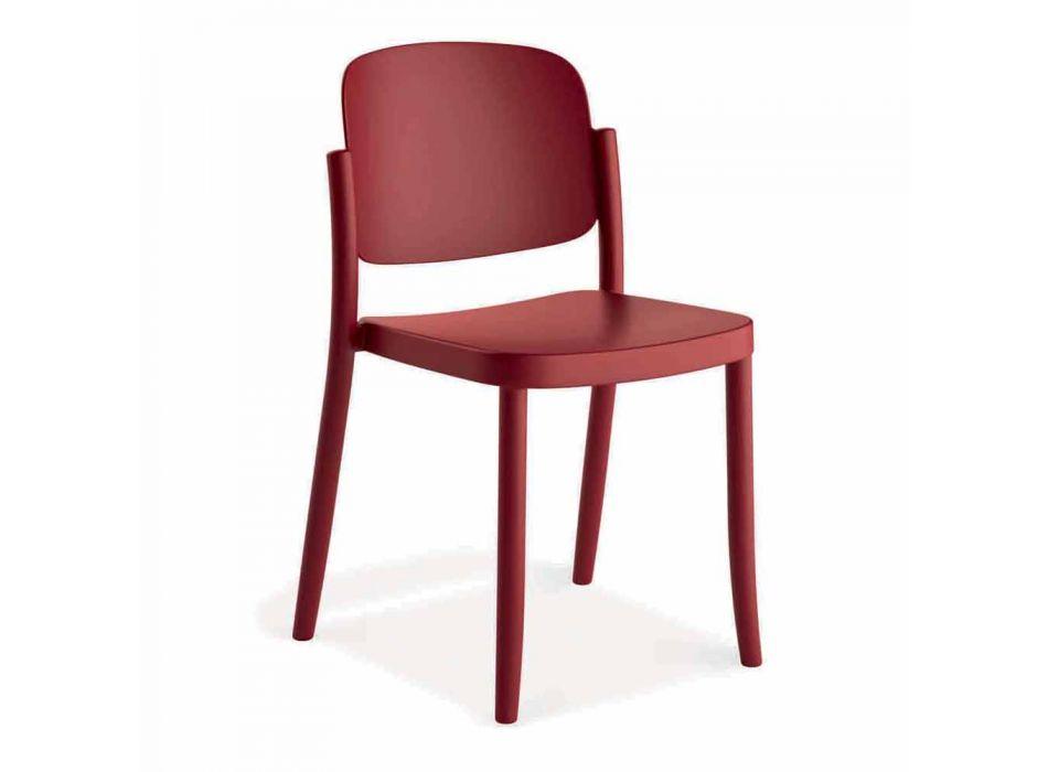 4 moderní stohovatelné venkovní židle z polypropylenu Vyrobeno v Itálii - Bernetta