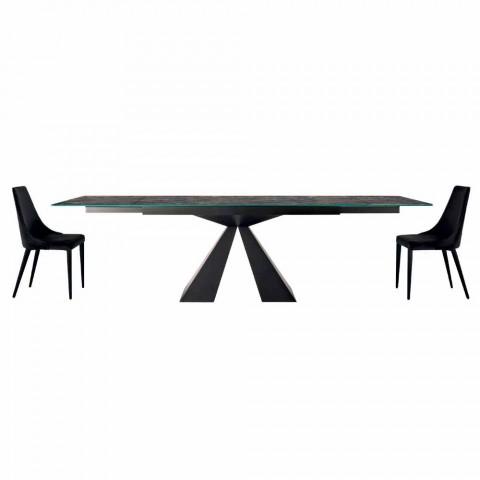 4 moderní ocelová židle s čalouněným sametovým sedákem vyrobené v Itálii - Nirvana