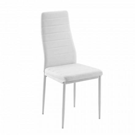4 moderní jídelní židle v imitaci kůže a kovových nohou - Spiga