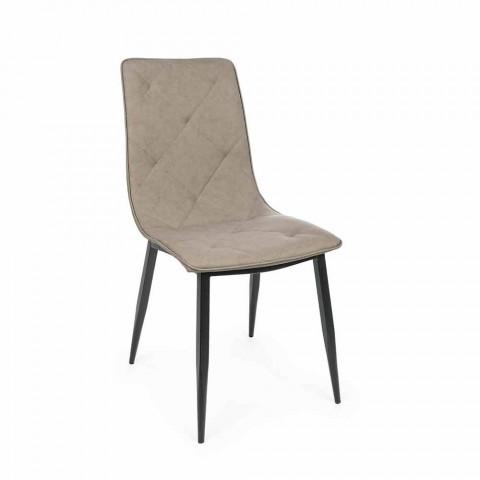 4 moderní židle potažené koženkou s ocelovou základnou Homemotion - Daisa