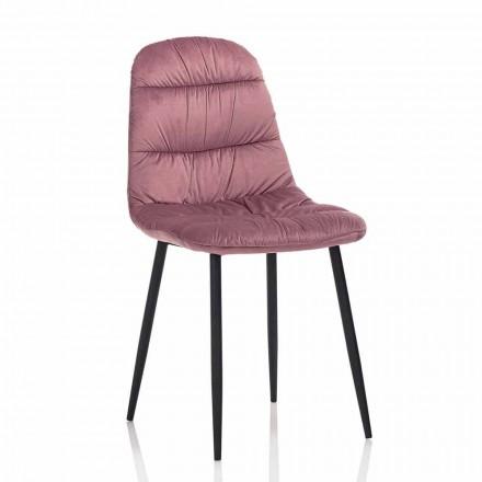 Jídelní židle v růžovém, šedém nebo akvamarínovém sametu, 4 kusy - Ciga