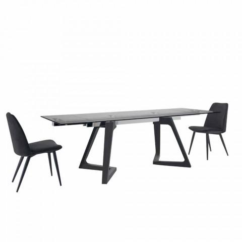 4 čalouněné jídelní židle čalouněné v sametu vyrobené v Itálii - zrno