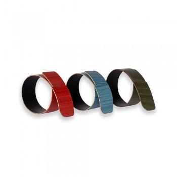 6 designových prstenů na ubrousky v nejrůznějších barvách vyrobené v Itálii - nočník