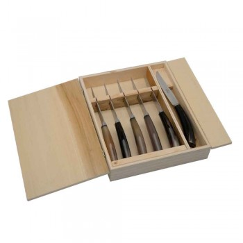 6 kuchyňských nožů Artisan s rukojetí Ox Horn Made in Italy - Marine