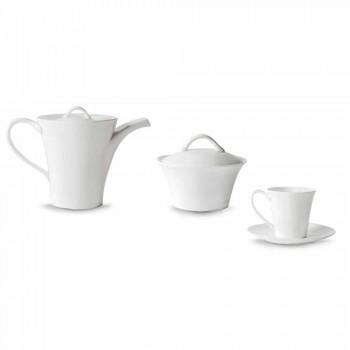 6 porcelánových kávových šálků s talířem, kávové konvice a cukrové misky - Romilda