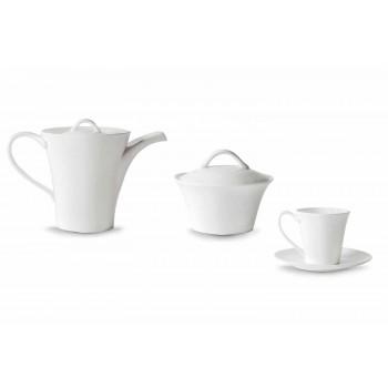 6 porcelánových šálků na kávu s talířem, kávovou konvicí a miskou na cukr - Romilda