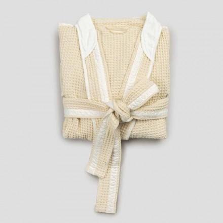 Luxusní kimonový župan v lnu a bavlně, 2 povrchové úpravy vyrobené v Itálii - Kleone
