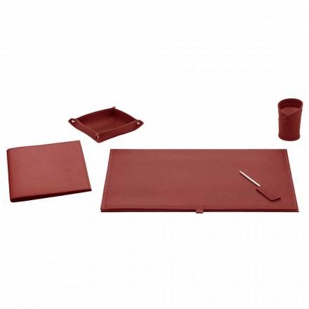Kancelářské doplňky pro psací stůl z lepené kůže, 5 kusů - Aristoteles