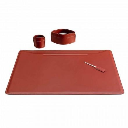 Příslušenství pro kancelářský stůl v kůži, 4 kusy, vyrobené v Itálii - Ebe