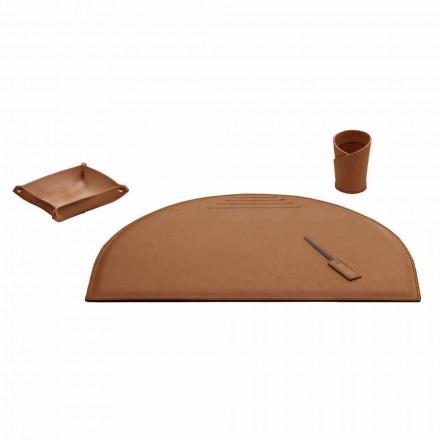 Kancelářské doplňky pro psací stůl z regenerované kůže, vyrobené v Itálii - Medea