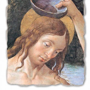 "Fresco handmade Perugino ""Křest Krista"""