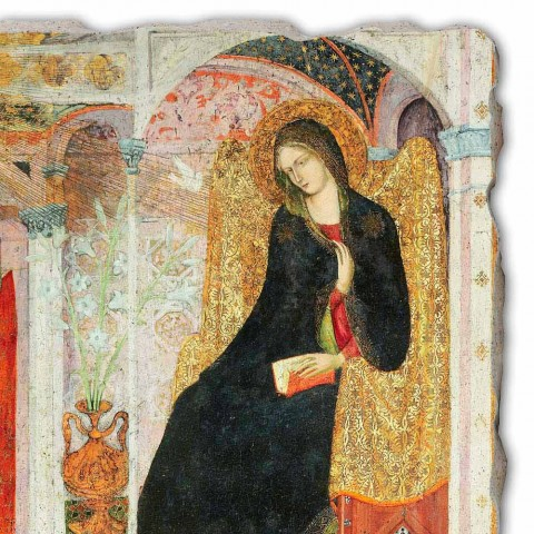 """Great Fresco Friar Ilario z Viterbo """"Zvěstování"""" část."""