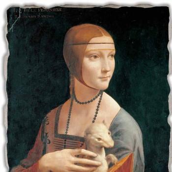 "Fresco Leonardo da Vinci ""Dáma s hranostajem"""