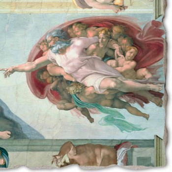 """Fresco Michelangelo je """"Stvoření Adama"""", ruční"""