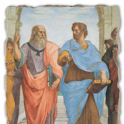 """Raffaello Sanzio freska """"School of Athens"""" část. Plato a Artistotele"""