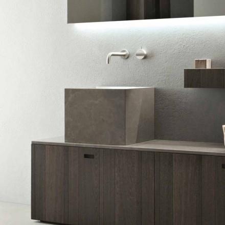 Vysoké čtvercové umyvadlo na desku z kamene v moderním designu - Farartlav