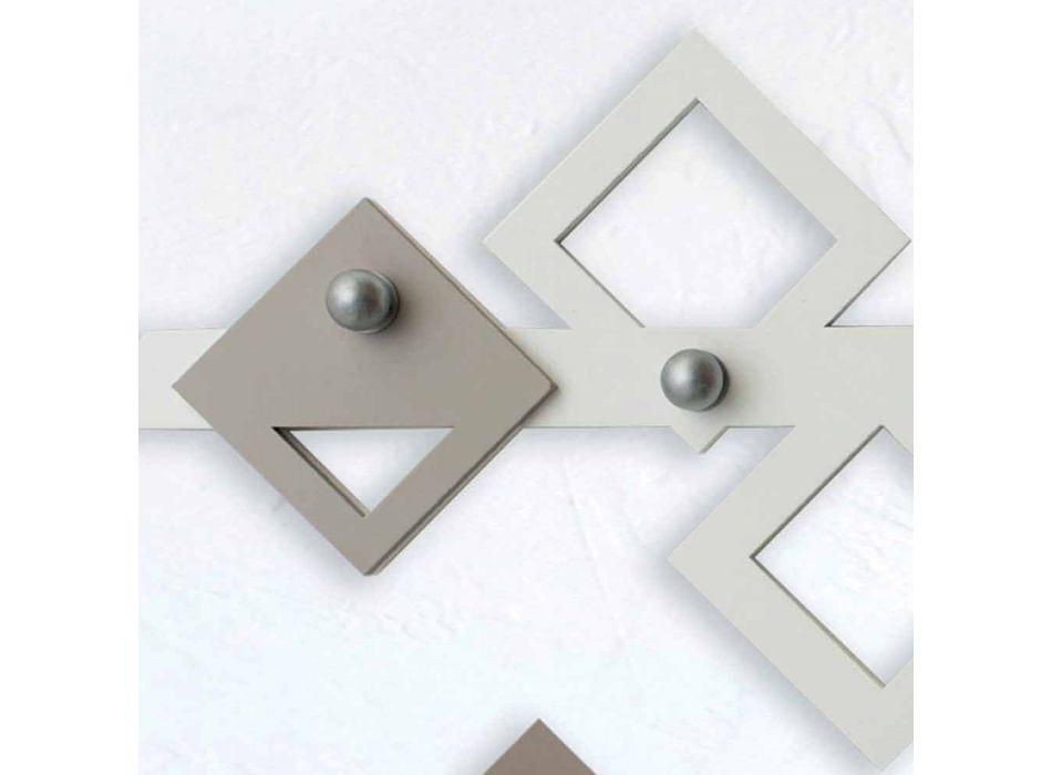 Bílý a béžový dřevěný věšák moderní geometrický design - Klimt