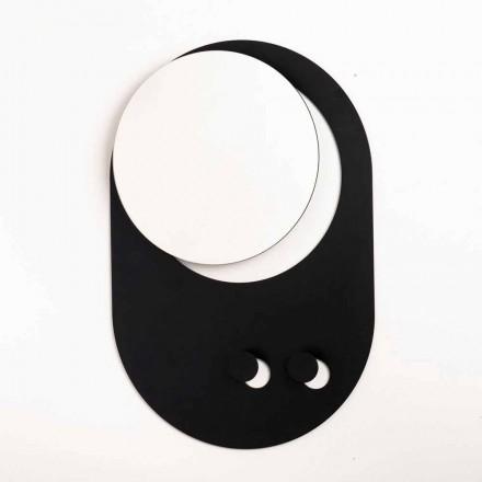 Moderní nástěnný věšák z oceli se zrcadlem vyrobený v Itálii - Pilippo