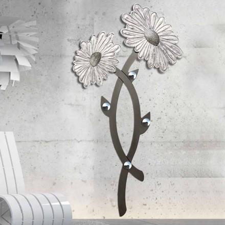 Ručně zdobený nástěnný hák ve stříbrném designu Clarke