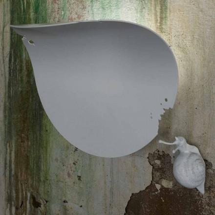 Designová nástěnná svícna z bílé keramiky a šneka - šnečí dekorace