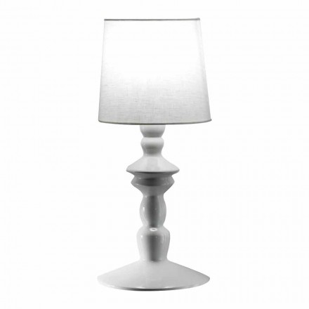 Nástěnná lampa z lakované keramiky a stínidla v bílém povlečení - Cadabra