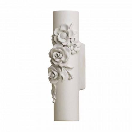 Nástěnná nástěnná matná bílá keramika s dekorativními květinami - revoluce