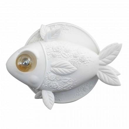 Nástěnná nástěnná svítidlo v matně bílém keramickém designu se zdobenou rybou - ryba