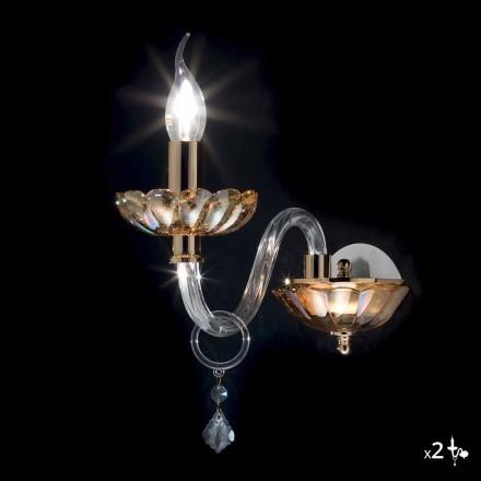 Nástěnné svítidlo Klasický design v krystalové a skleněné v pořádku, 2 ks