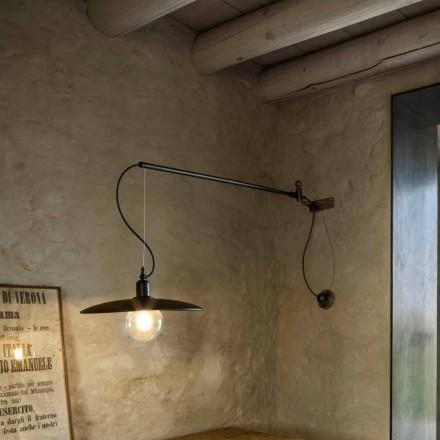 Vintage mosazná nástěnná lampa s pohyblivým ramenem - Meridiana Aldo Bernardi