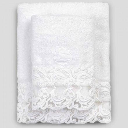 Froté ručníky z bílé bavlny s krajkou, 2 kusy italského luxusu - Sposi