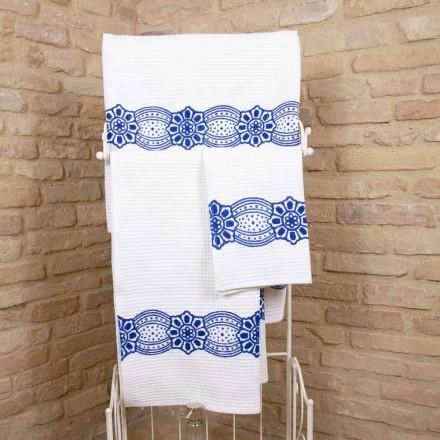 Italský ručník ruční práce s potiskem v bavlně - Viadurini od Marchi