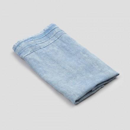 Modrý těžký lněný obličejový ručník luxusního italského designu - Jojoba