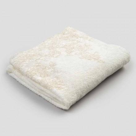 2 bavlněné froté ručníky na obličej s krajkovým a plátěným okrajem - Ginova
