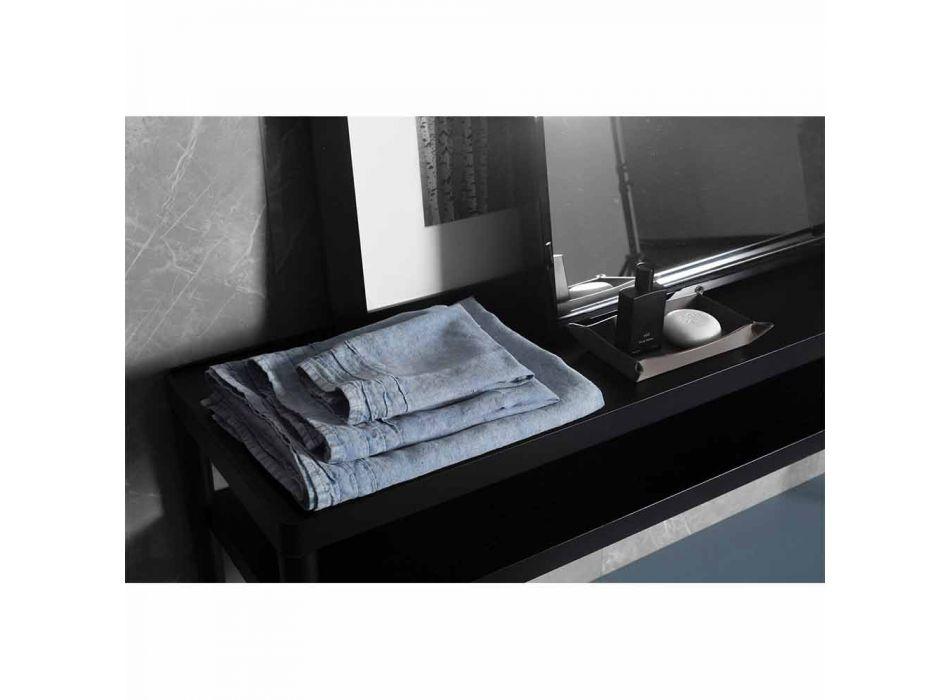 Světle modrá Heavy Linen osuška pro hosty italský luxusní design - Jojoba
