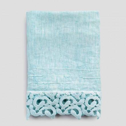 Těžký lněný ručník na obličej s krajkou Poema 2 kusy 2 barvy - hrad