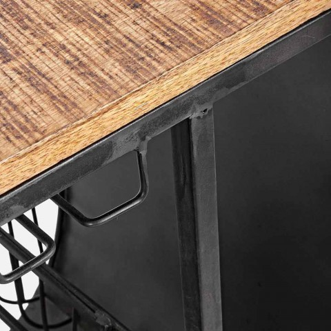 Barová konzole z mangového dřeva a Vespa z oceli moderního designu - šalotka