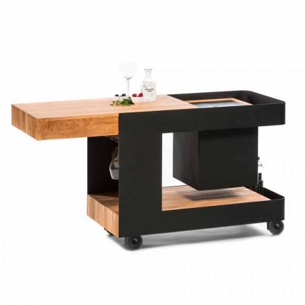 Moderní mobilní bar na kolech s dřevěným a ocelovým stolem - Giancalliope